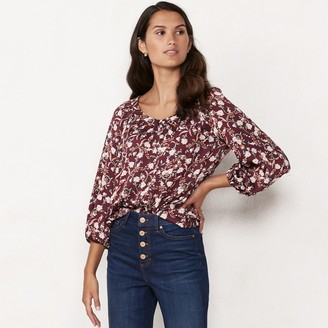 Lauren Conrad Women's Banded Neck Peasant Blouse