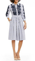 Eliza J Lace Applique Stripe Button Front Shirt Dress