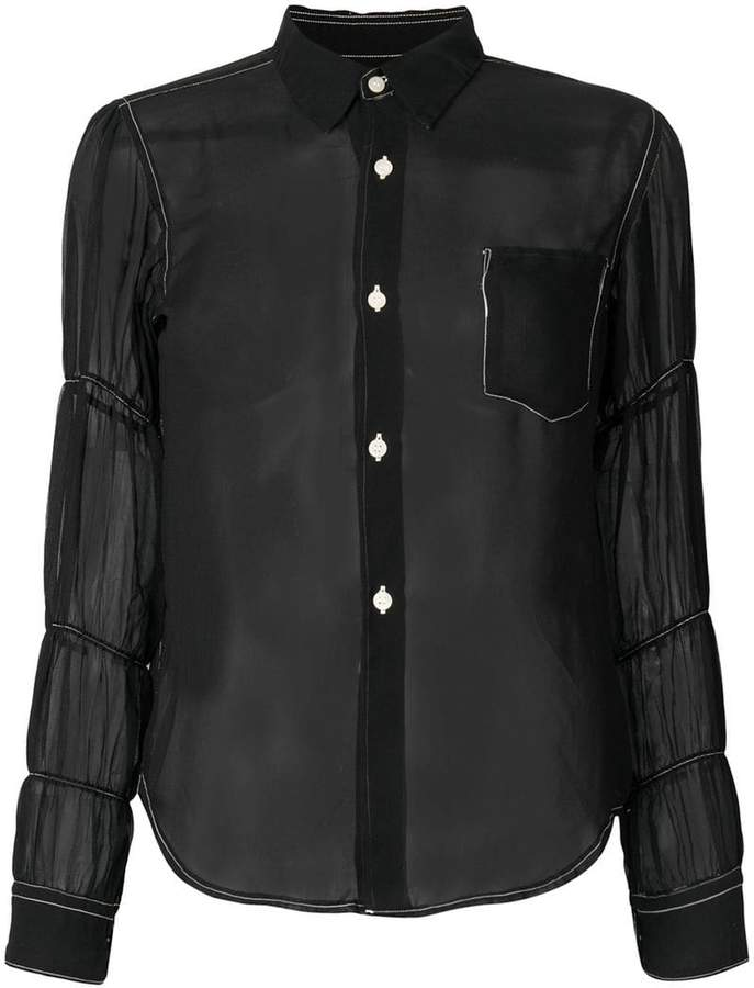 Comme des Garcons sheer ruched sleeve blouse