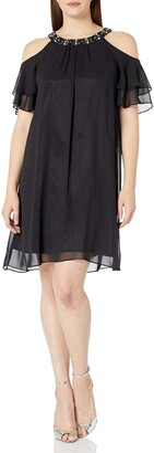 Jessica Howard JessicaHoward Women's Beaded Cold Shoulder Dress