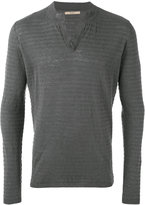 Nuur ribbed open neck jumper - men - Cotton/Linen/Flax - 48
