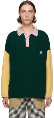 Loewe Green and Pink Cashmere Long Sleeve Polo
