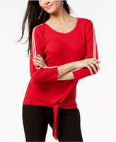 INC International Concepts I.n.c. Petite Ribbed Tie-Front Top, Created for Macy's