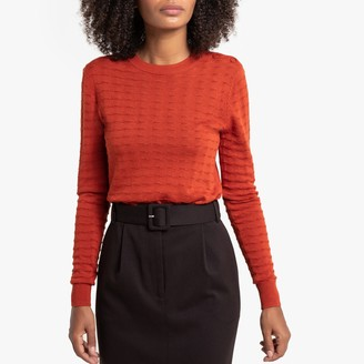 La Redoute Collections Fine Pointelle Knit Jumper with Round Neck and Buttoned Shoulder