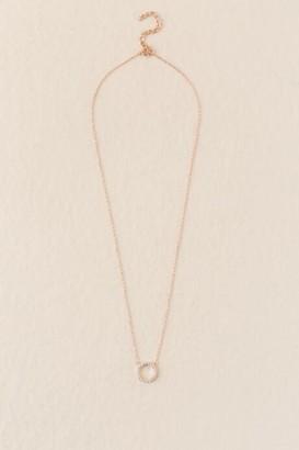 francesca's Emilia CZ Circle Pendant Necklace - Rose/Gold