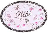 Stupell Industries The Kids Room by Stupell Bebe, Baby with Flowers and Stripes Oval Wall Plaque