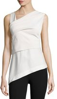 Donna Karan Sleeveless Wrap Top W/Bow Back, Bone/Porcelain