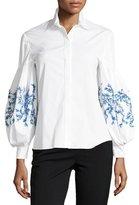 Carolina Herrera Button-Front Embroidered Balloon-Sleeves Poplin Blouse