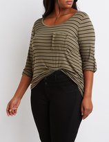 Charlotte Russe Plus Size Striped Scoop Neck Pocket Tee