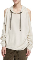 Brunello Cucinelli Cold-Shoulder Cashmere Hoodie with Monili Drawstrings