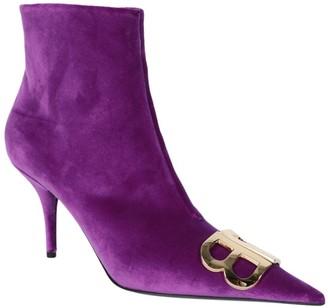 Balenciaga Purple Bb Logo Ankle Boots