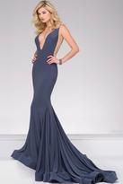 Jovani V Neckline Long Jersey Prom Dress 46756