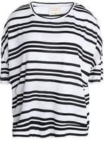 Alice + Olivia Alice+olivia Striped Slub Linen-Blend Jersey T-Shirt