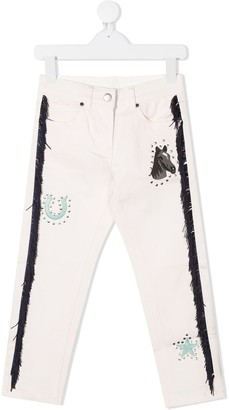 Stella McCartney Kids Horses and Fringes mom-fit jeans
