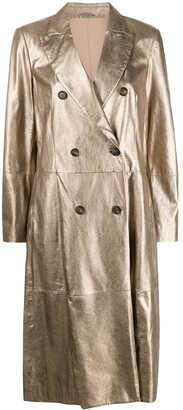 Brunello Cucinelli Double Breasted Metallic Trench Coat