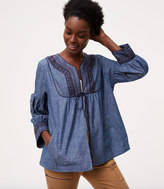 LOFT Embroidered Chambray Jacket