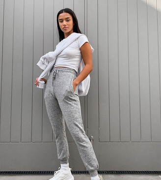 ASOS DESIGN Petite supersoft slim leg jogger in grey marl