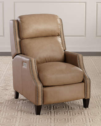 Bernhardt Turning Dual Power Leather Recliner