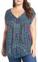 Lucky Brand Plus Size Women's Paisley Babydoll Top