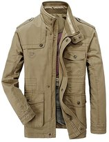 EUROUS Men's Fashion Stand Collar Style Cotton Overcoat Jacket (M, )
