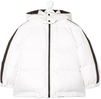 Fendi FF-trimmed feather down jacket