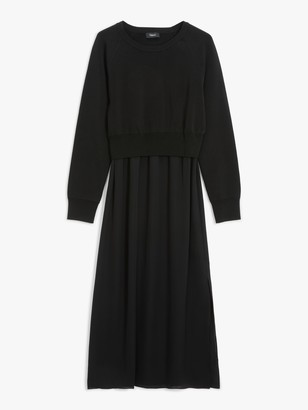 Theory Long Sleeve Knitted Silk Dress, Black