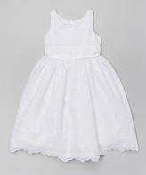 Jayne Copeland White Scallop Lace Dress - Toddler & Girls
