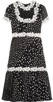 Giambattista Valli Lace-trimmed Polka-dot Silk-georgette Dress - Black