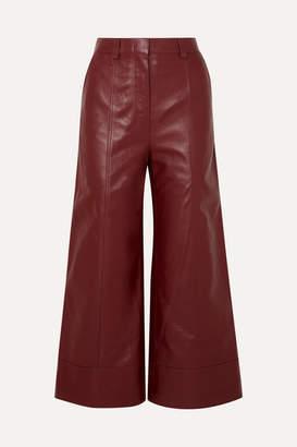 Dodo Bar Or Magen Leather Wide-leg Pants - Burgundy