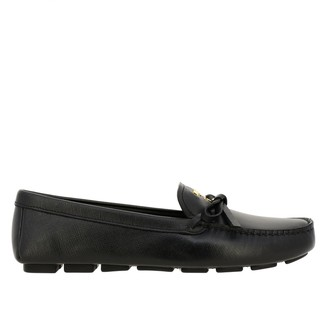 Prada Leather Drive Moccasin With Bow