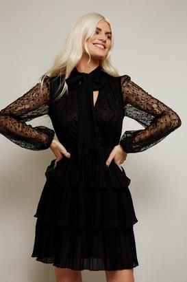 Little Mistress Annalisa Black Lace Pussybow Mini Dress