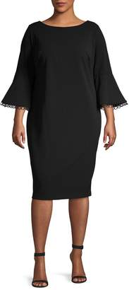 Calvin Klein Collection Plus Bell-Sleeve Sheath Dress