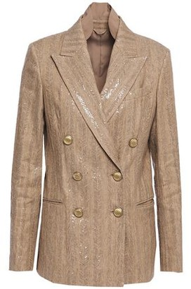 Brunello Cucinelli Double-breasted Sequin-embellished Herringbone Cotton-blend Blazer