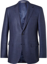 Canali - Blue Slim-fit Checked Wool, Silk And Linen-blend Blazer