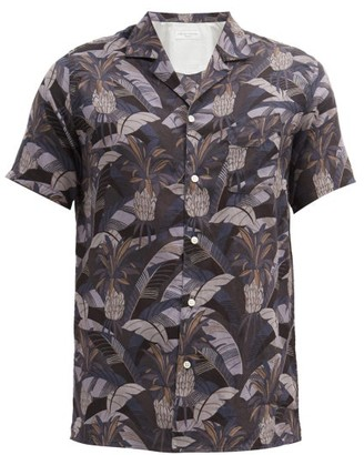 Officine Generale Dario Short-sleeved Tropical-print Cotton Shirt - Tan Multi