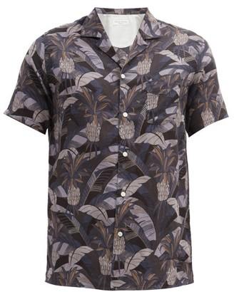 Officine Generale Dario Short-sleeved Tropical-print Cotton Shirt - Tan Multi