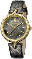 Roberto Cavalli SNAKE LUGS Women's Swiss-Quartz Black Leather Strap Watch