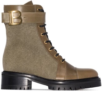 Balmain Multi-Panel Lace-Up Boots