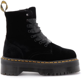 Dr. Martens Jadon Amphibious Boot In Black Velvet With Maxi Lug Sole