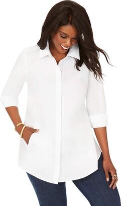 Foxcroft Women's Size Cici Plus Non-Iron Pinpoint Tunic