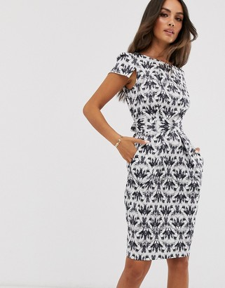 Closet London cap sleeve wiggle dress in black and white jewel print