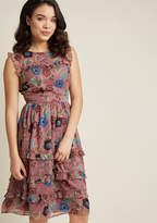 Ruffled Midi Dress with Metallic Accents in M - Sleeveless A-line by ModCloth
