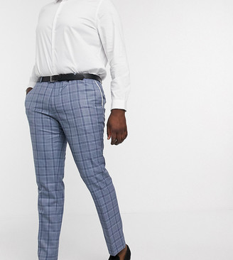 Twisted Tailor PLUS skinny suit trousers in blue check with contrast piping