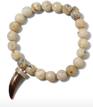 Sydney Evan 14k African Opal & Medium Horn Bracelet w/ Diamonds