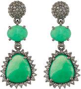 Bavna Chrysoprase & Champagne Diamond Triple-Drop Earrings