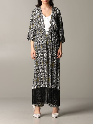 Patrizia Pepe Dressing Gown With Ikat Print And Fringed Hem