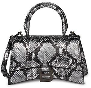 Balenciaga XS Hourglass Snakeskin-Embossed Leather Top Handle Bag