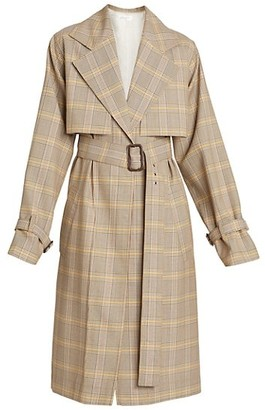 Victoria Beckham Plaid Wool Trench Coat