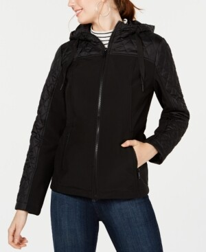 Sebby Juniors' Mixed-Media Hooded Jacket
