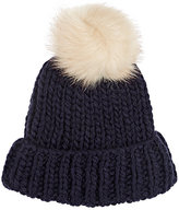 Barneys New York WOMEN'S POM-POM EMBELLISHED HAT-NAVY